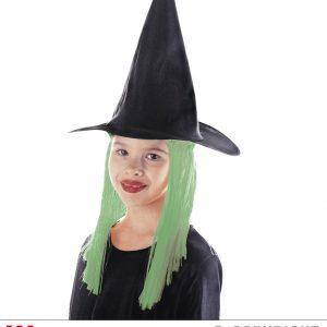 Chapeau sorciere cheveux verts