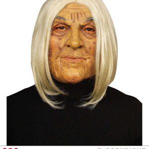 Masque vieille avec perruque