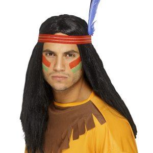 Perruque indien noire bandeau plume