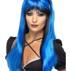 Perruque longue bleue noire frange