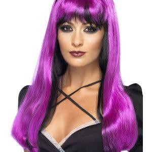 Perruque longue violette noire frange