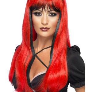 Perruque longue rouge noire frange