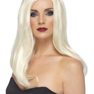 Perruque longue blond platine