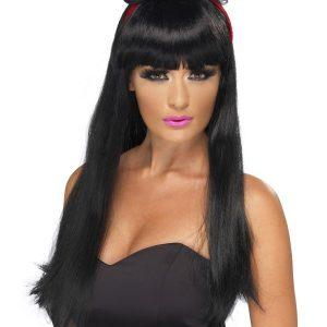 Perruque longue noire frange accessoire