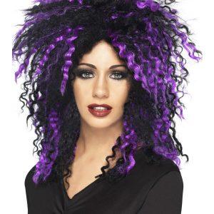 Perruque volume noir violet crêpée