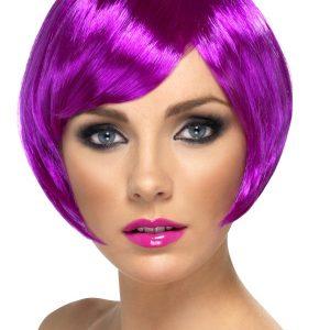 Perruque courte violette frange