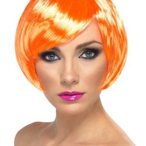 Perruque courte orange frange