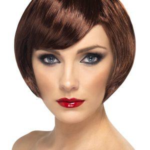 Perruque courte brune frange