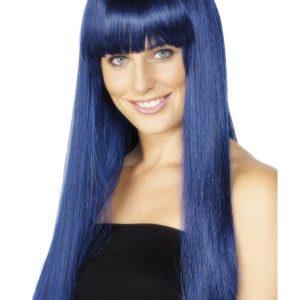 Perruque longue bleue frange