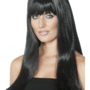Perruque longue noire frange