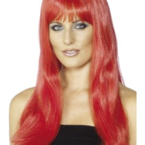 Perruque longue rouge frange