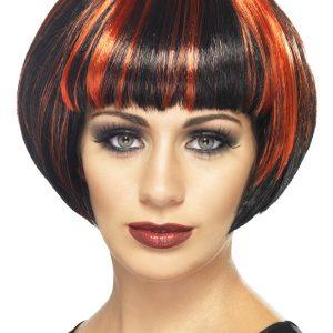 Perruque courte noir rouge frange