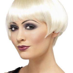Perruque courte blond platine frange