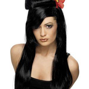 Perruque longue noire frange coiffée accessoire