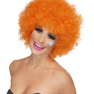 Perruque frisée orange clown
