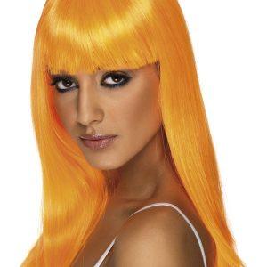 Perruque longue orange frange