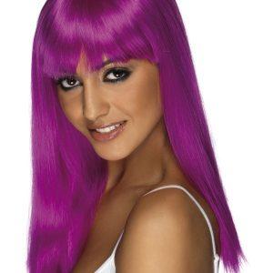 Perruque longue violette frange
