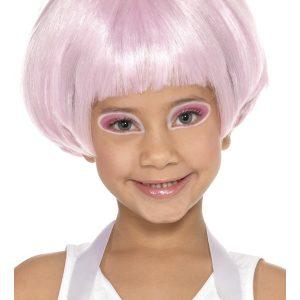 Perruque courte enfant rose