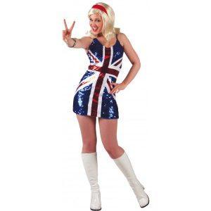 Disco robe courte drapeau UK brillante