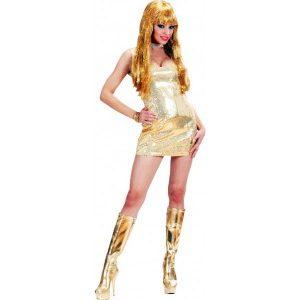 Disco robe courte dorée sexy