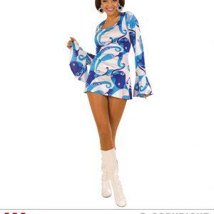 Déguisement femme 70's tunique courte bleu et blanche manche longue