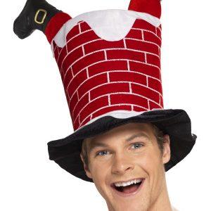 Chapeau père noël dans la cheminée