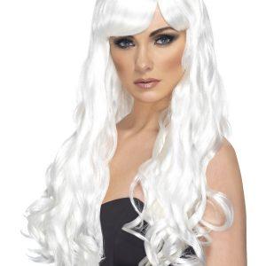 Perruque longue blanche ondulé