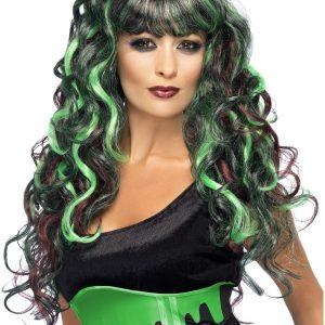 Perruque longue noire et verte ondulé