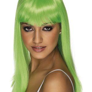 Perruque longue verte électrique
