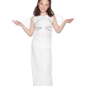 Déguisement ange de Noël enfant blanc robe longue