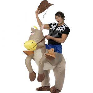 Déguisement cow-boy sur cheval gonflable
