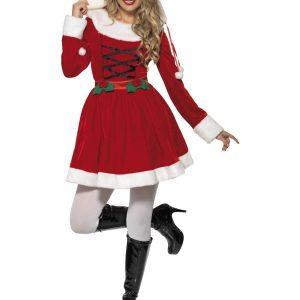 Déguisement Mère Noël robe mi longue rouge et manches longues et croisés