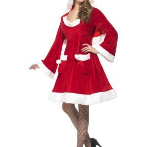 Déguisement Mère Noël robe mi longue rouge et manches longues