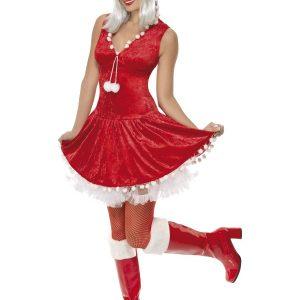 Déguisement Mère Noël robe mi longue rouge