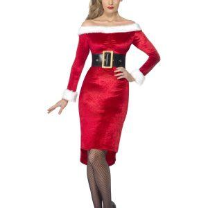 Déguisement Mère Noël robe mi longue rouge ceinturée