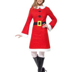 Déguisement Mère Noël robe mi longue et pompons noirs