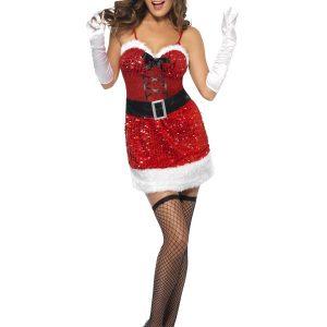 Déguisement Mère Noël sexy rouge et noir bustier