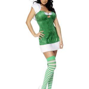 Déguisement robe verte et blanche Noël