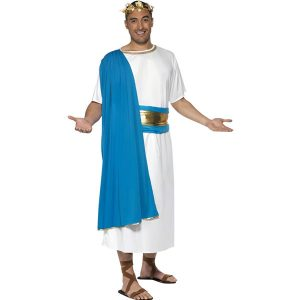 Déguisement sénateur romain bleu et blanc