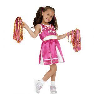 Costume enfant petite pompom girl rose