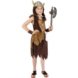 Costume enfant petite viking marron