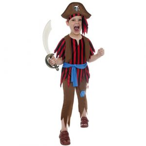 Costume enfant pirate rouge noir marron