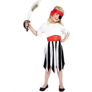 Costume enfant fille pirate rayé noir blanc