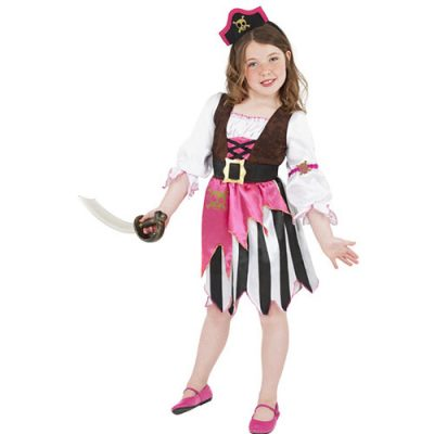 Costume enfant fille pirate noir blanc rose