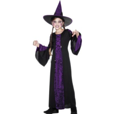 Costume enfant sorcière noir et violet