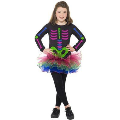 Costume enfant squelette néon fille