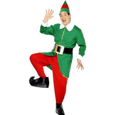 Costume homme lutin joyeux vert rouge