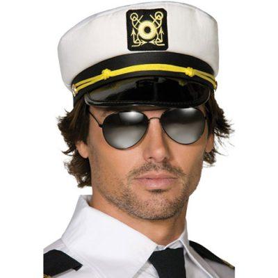 Casquette capitaine blanche noire
