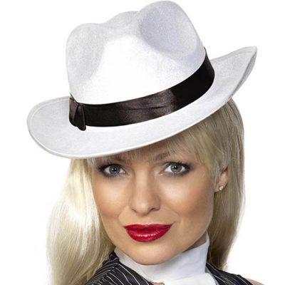 Chapeau gangster velours blanc