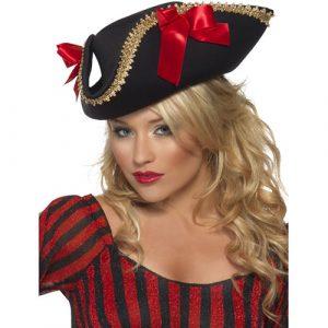 Tricorne pirate dame sexy galon doré